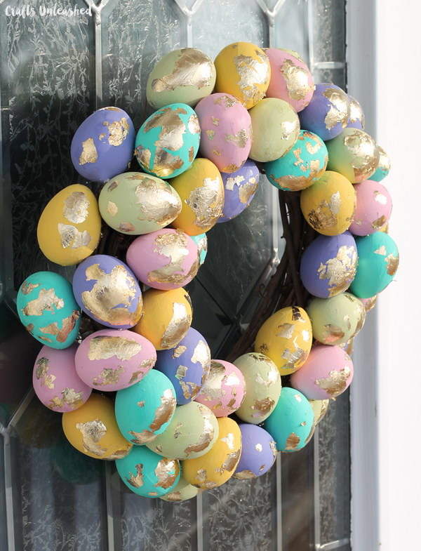 Gold Leaf Speckled Eggs Spring Wreath