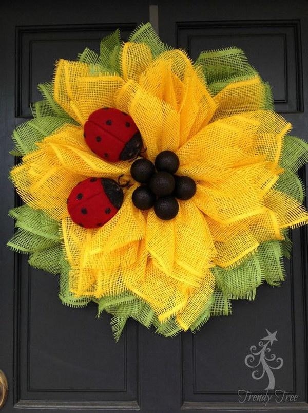 Sunflower Ladybug Wreath Tutorial