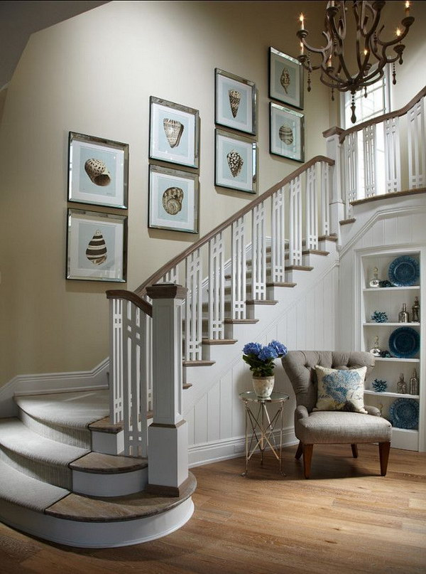 Staircase Runner, Art Galary And Chandeliars.