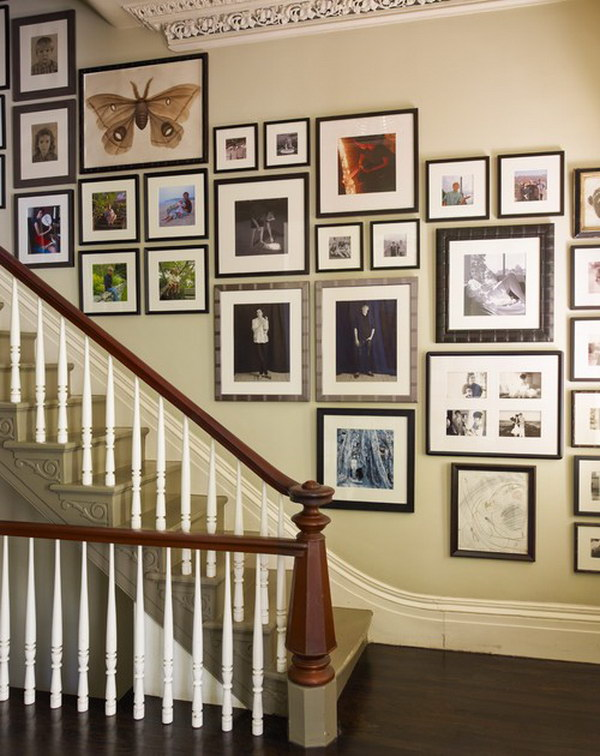 Decorate Your Staircase With Black And White Photos.