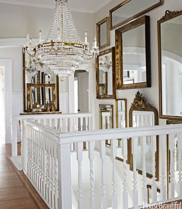 daylight bounces off a Dutch chandelier and assorted mirrors..