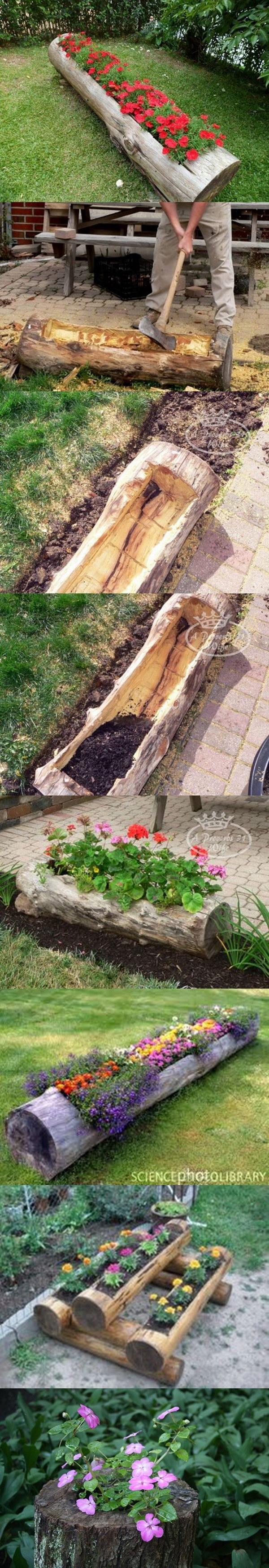Make Beautiful Log Garden Planter.