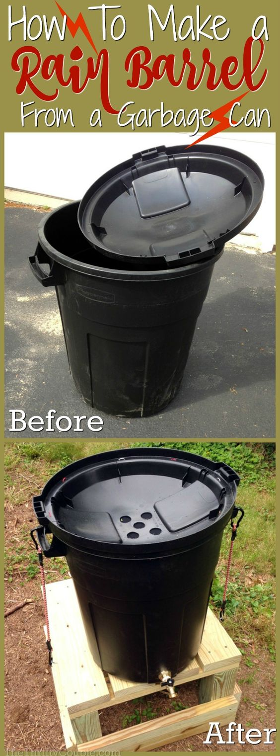 Make a DIY Rain Barrel from a Garbage Can.
