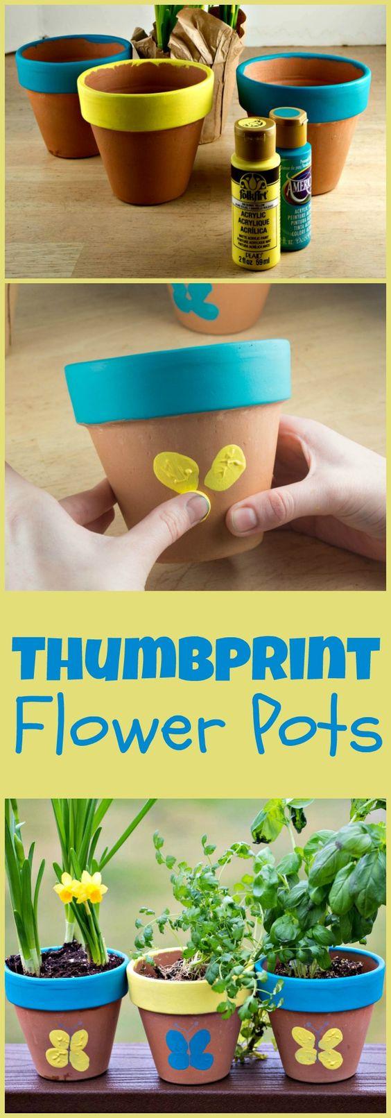 Thumbprint Flower Pot.