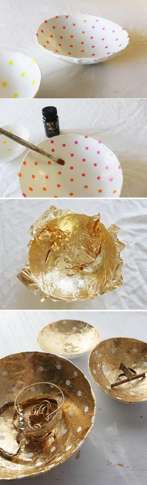 DIY Gold Leaf Paper Mache Bowls.