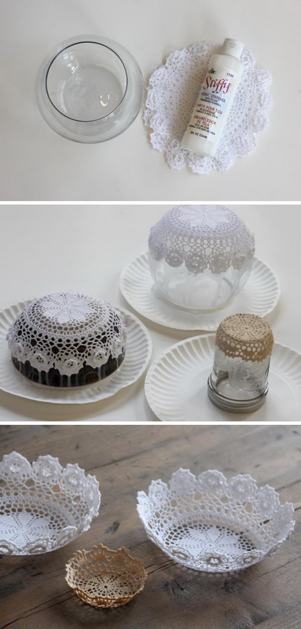 DIY Lace Doily Bowl.