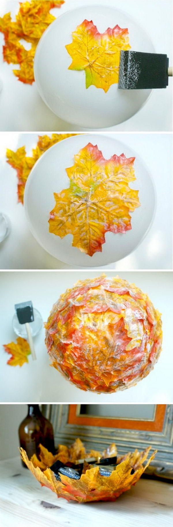 DIY Fall Leaf Bowls.