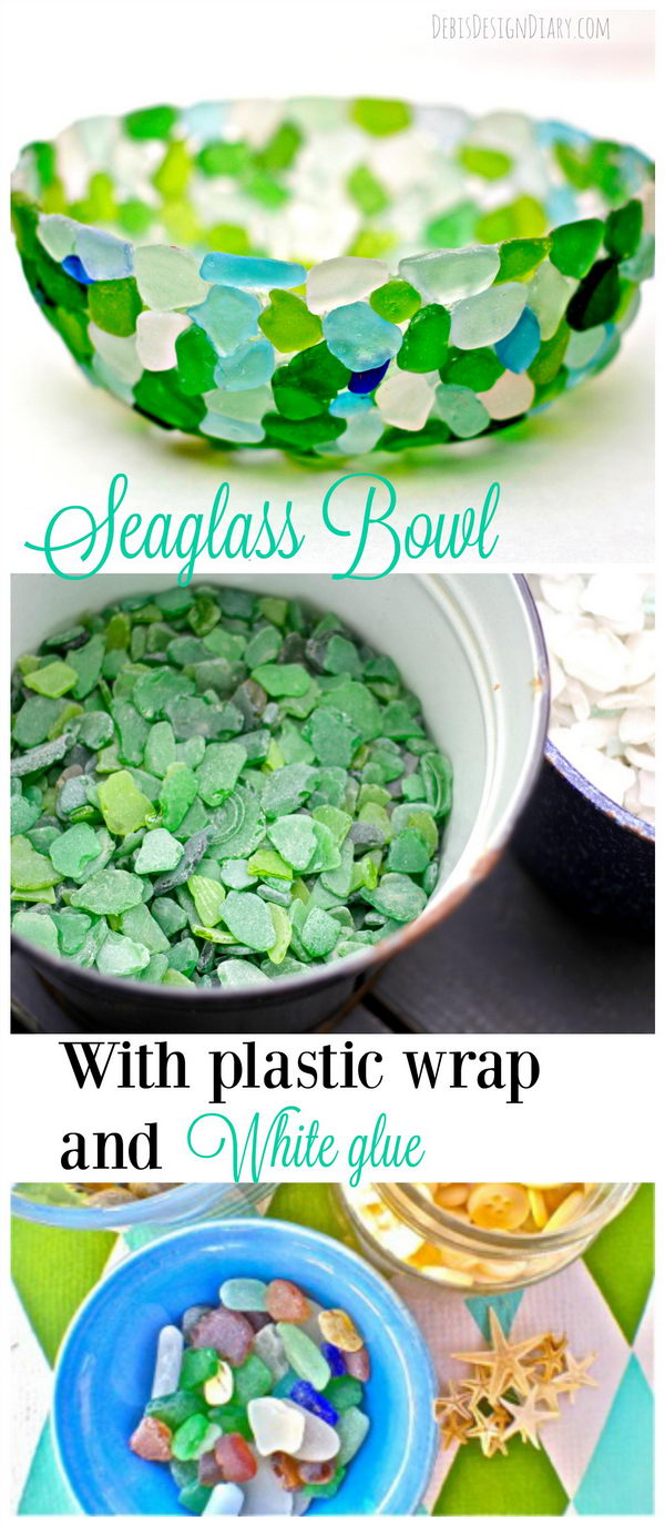 DIY Sea Glass Bowl Made out of Plastic Wrap.