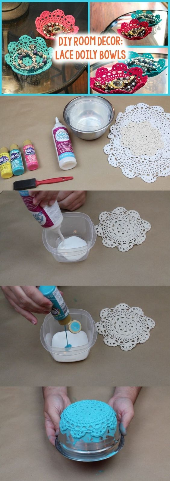 20 easy diy bowl ideas and tutorials 2017 diy lace doily bowl solutioingenieria Image collections