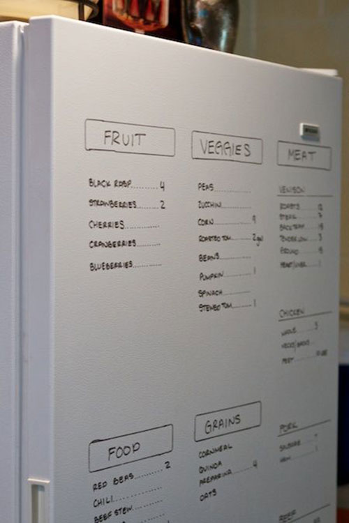 Use the front of the fridge as a whiteboard to keep track of what's inside.