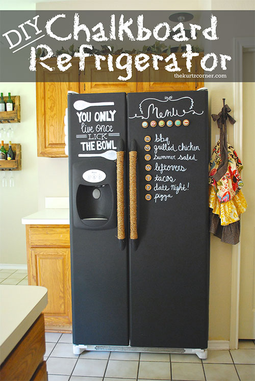 Use chalkboard paint on the outside of the fridge to keep track of your shopping list.
