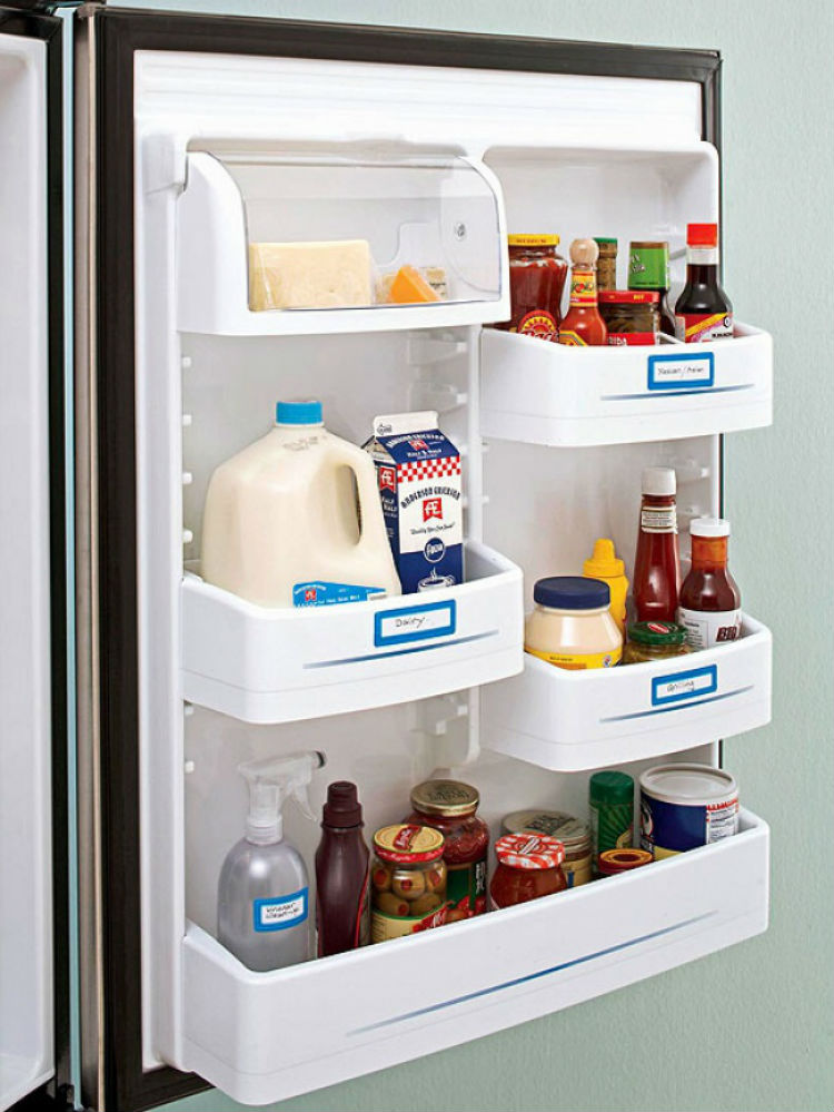 Add labels to shelves or doors for added organization.