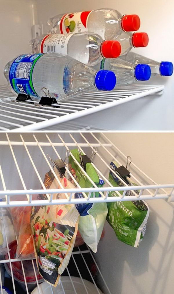 Use binder clip to organize your fridge.