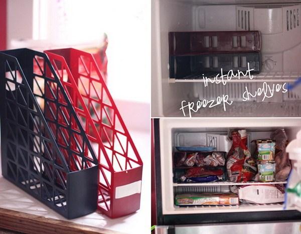 Use magazine holders as freezer shelves..