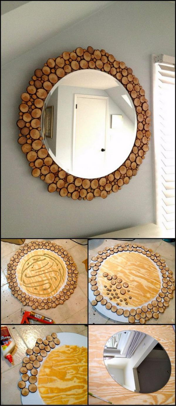 DIY Wood Slice Mirror.