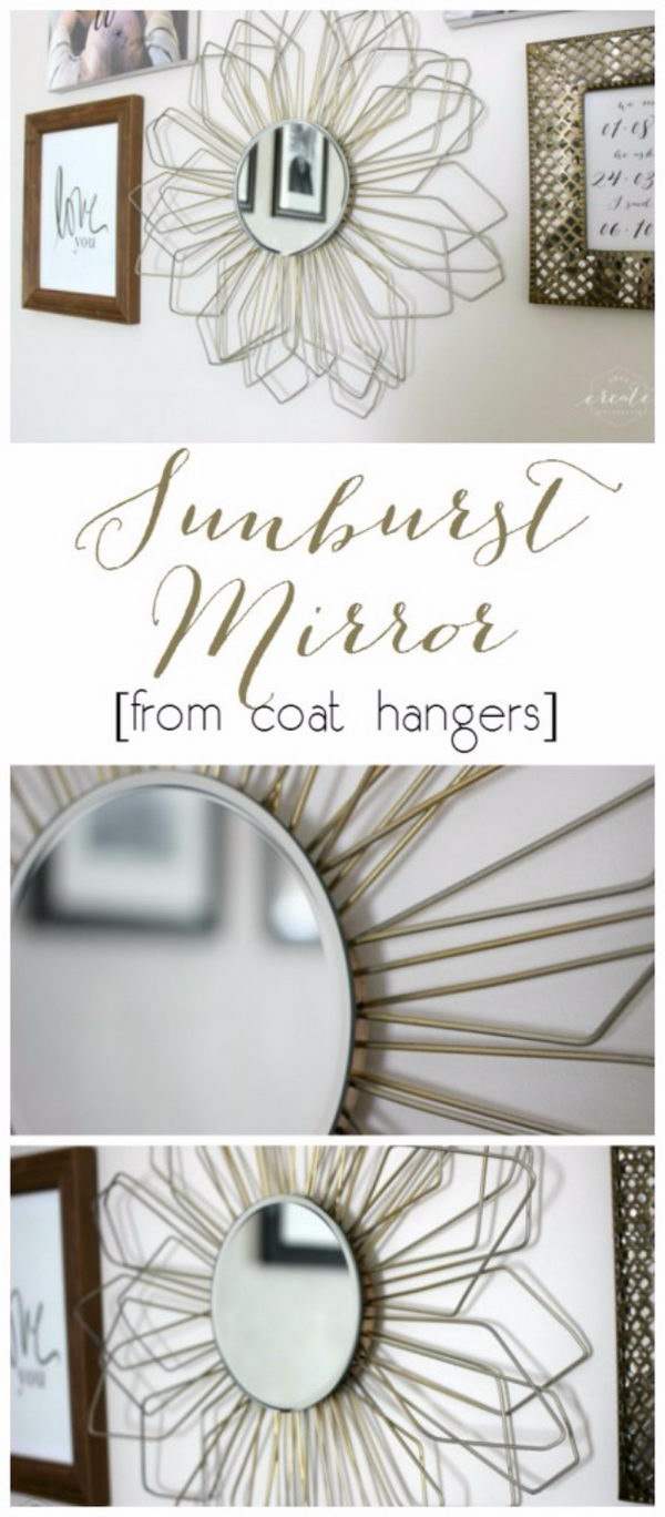 Sunburst Mirror From Coat Hangers.