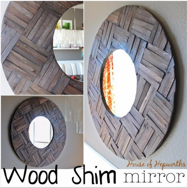 DIY Mirror Made From Wood Shims.
