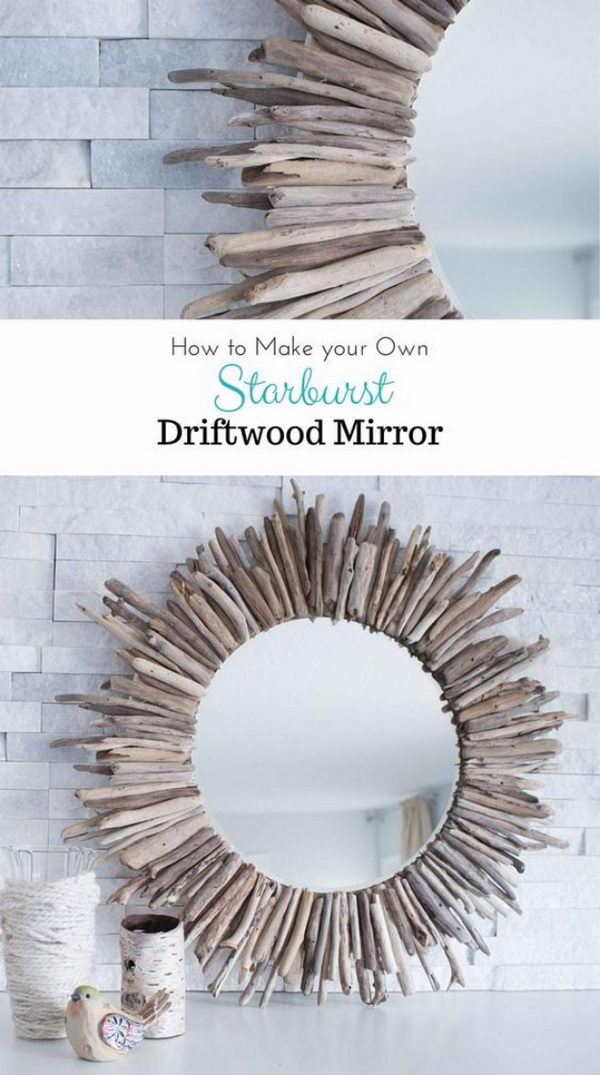 Easy DIY Starburst Driftwood Mirror.