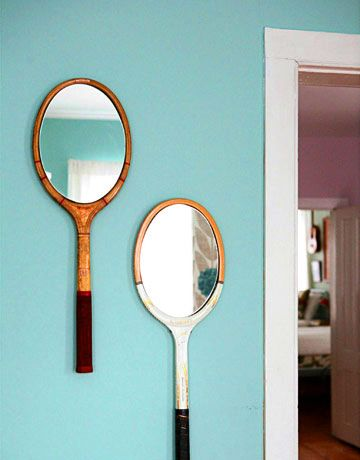 DIY Vintage Tennis Racket Mirrors.