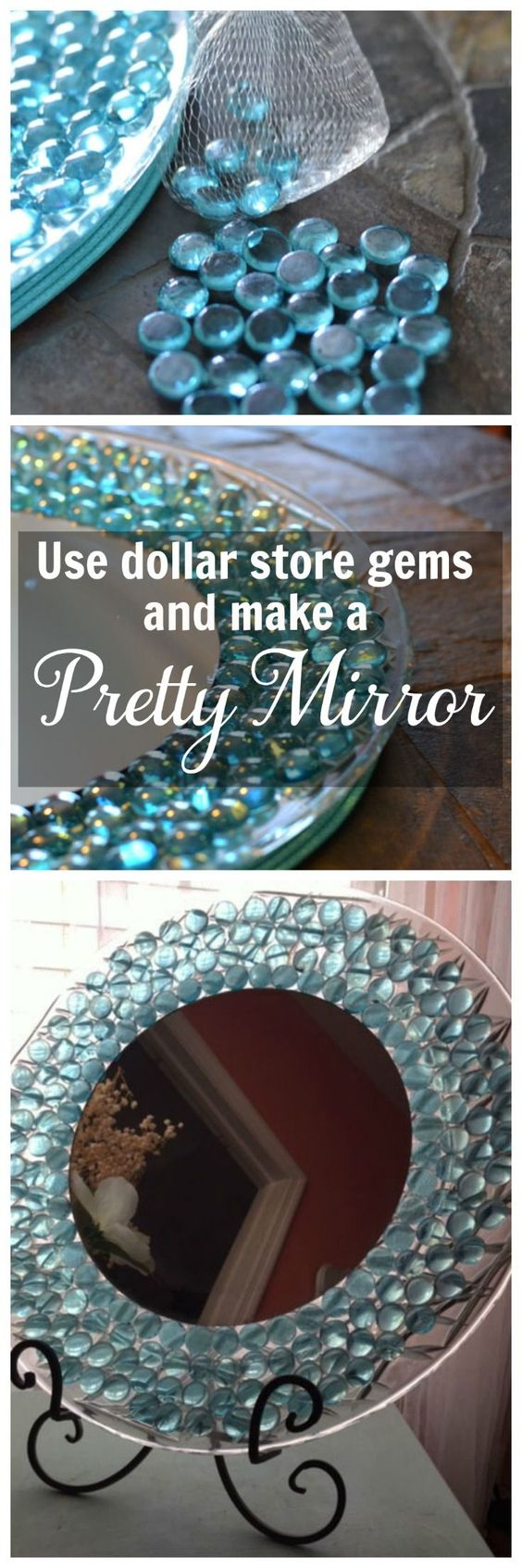 Easy DIY Dresser Mirror uSing Dollar Store Gems.