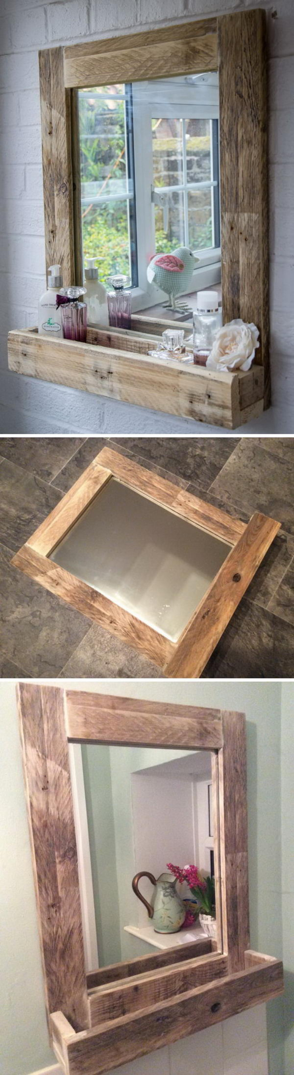 Rustic Wood Mirror With Storage Shelf.