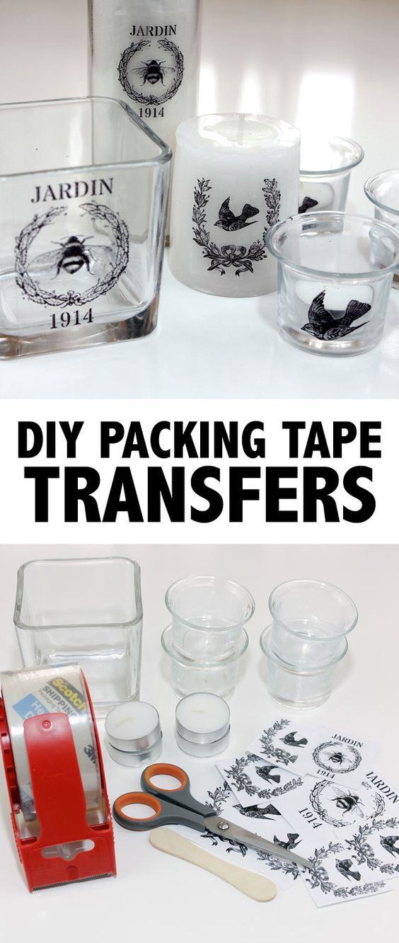 DIY Packing Tape Transfers For Transferring Photos Onto Glassware.