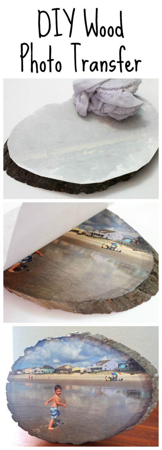 DIY Wood Slice Photo Transfer.