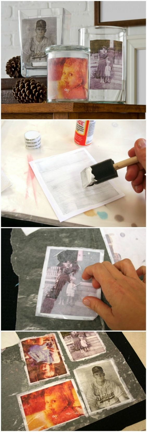 Vintage Mod Podge Photo Transfer To Vases.