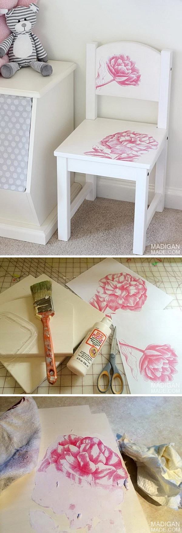 DIY Child's Chair with Photo Transfer Medium.
