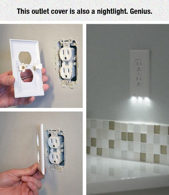 Outlet cover with nightlight for providing safety lighting in your home.