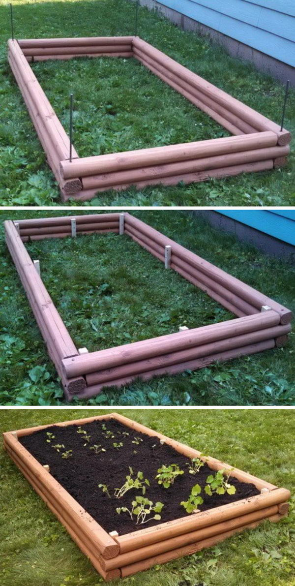 DIY Raised Garden Bed With Landscaping Timbers.