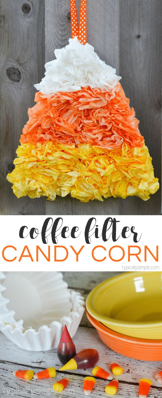 Coffee Filter Candy Corn.