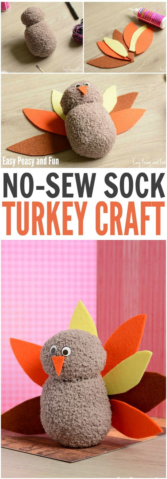No-Sew Sock Turkey Craft.