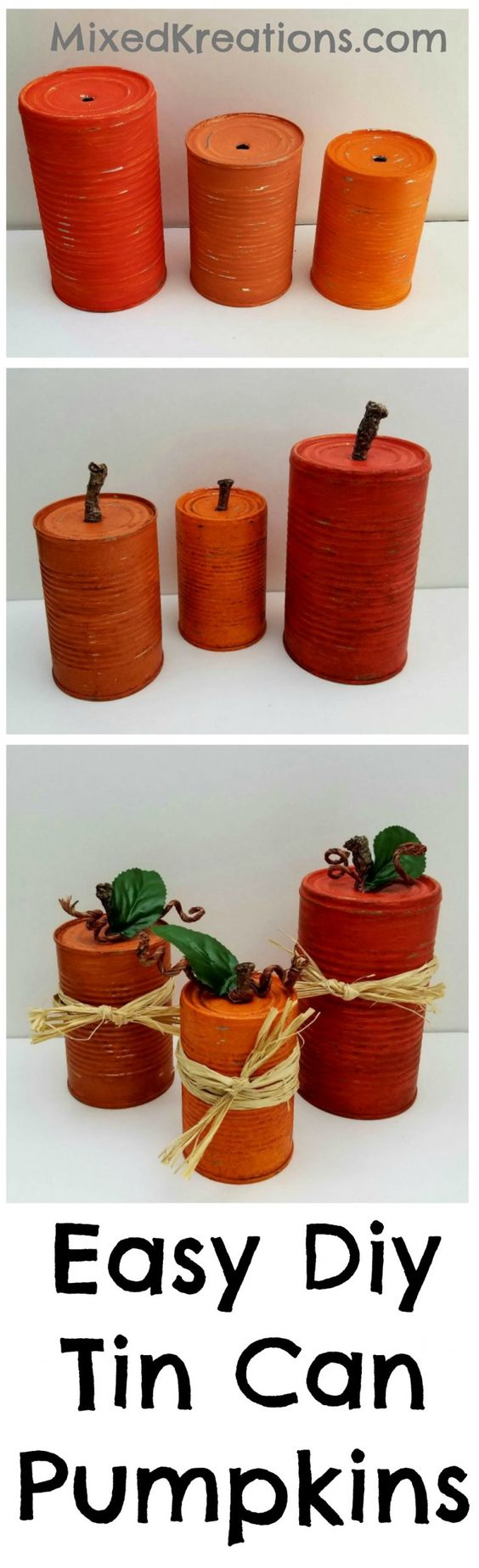Easy Diy Tin Can Pumpkins.