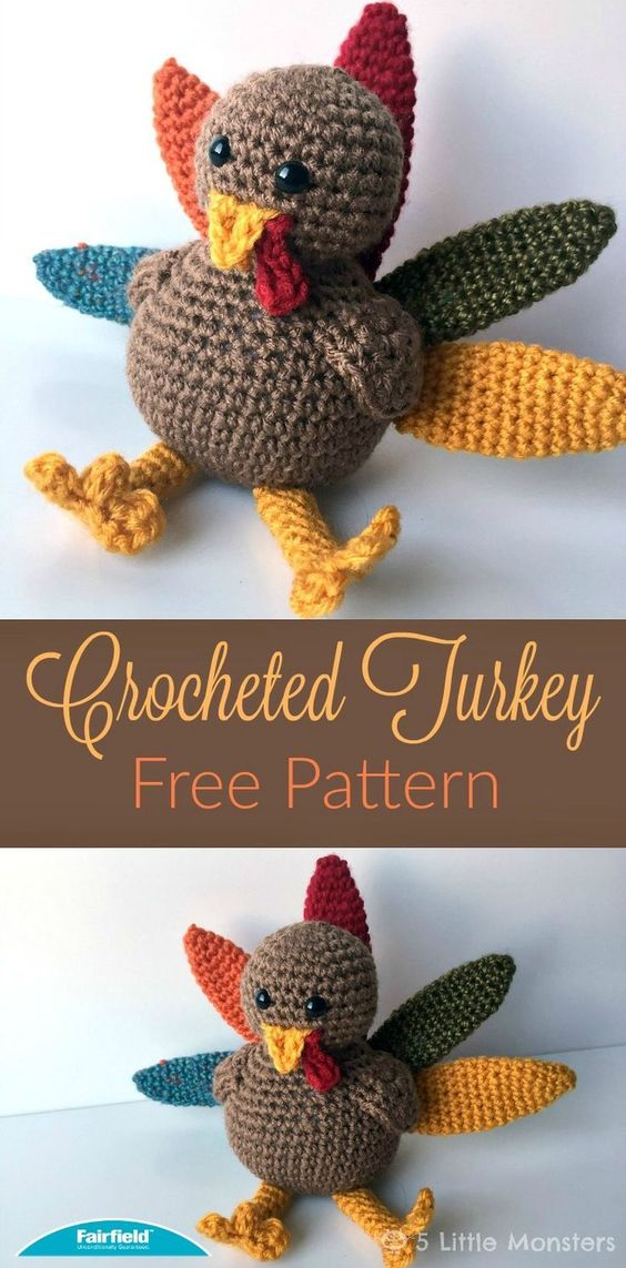 Crocheted Turkey for Thanksgiving.