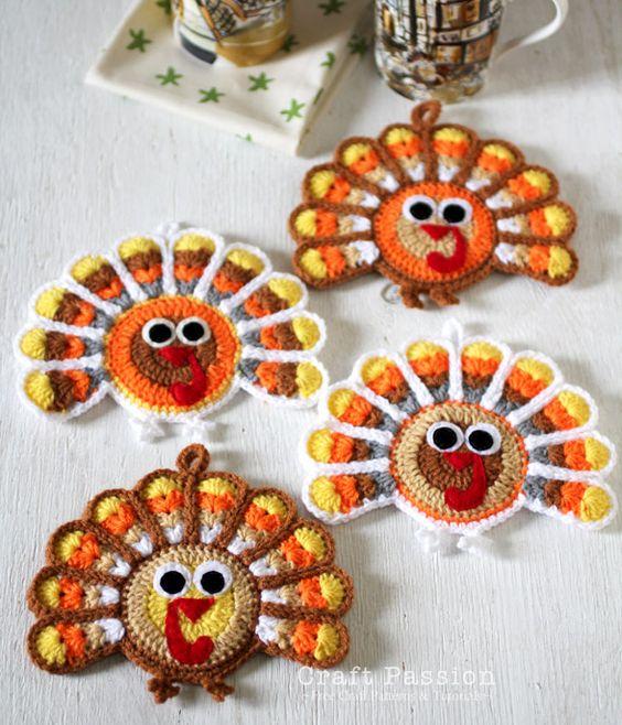 Crochet Turkey Coasters.