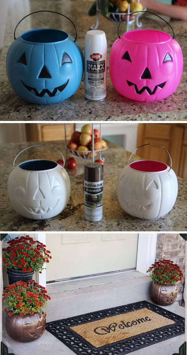 Flower Pots Recycled From Pumpkin Candy Holder.