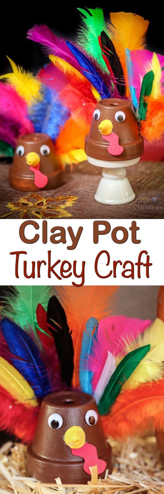 Easy Clay Pot Turkey Craft.