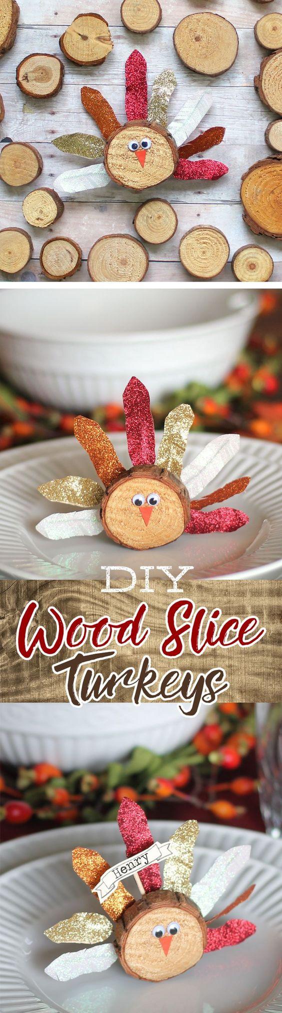 Wood Slice Turkey Craft with Washi Tape Feathers.