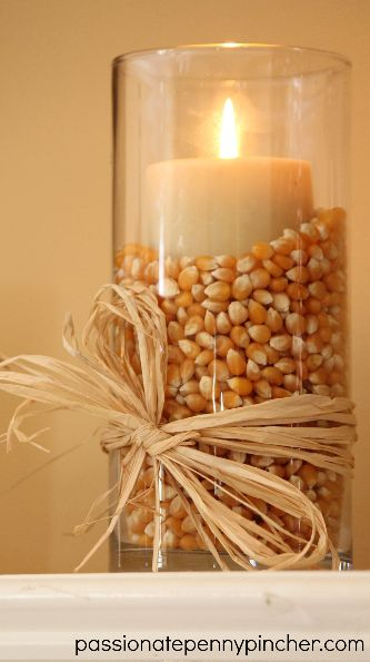 $6 Popcorn-filled Vases for Fall or Thanksgiving.