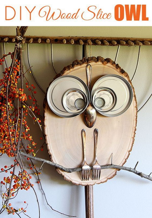 Easy DIY Wood Slice Owl.
