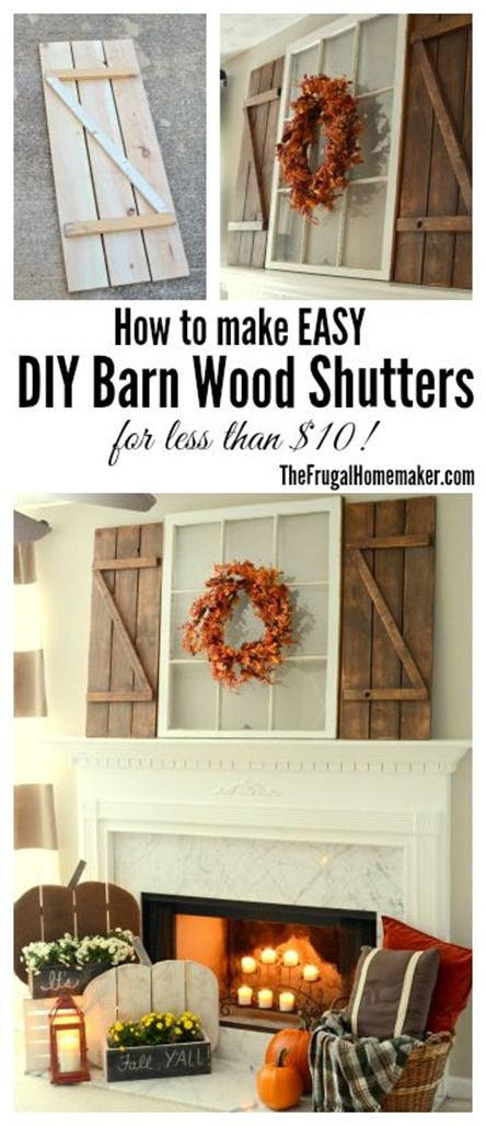 Rustic Fall Mantel Decorated with DIY Wood Pumpkins and DIY Barn Wood Shutters.