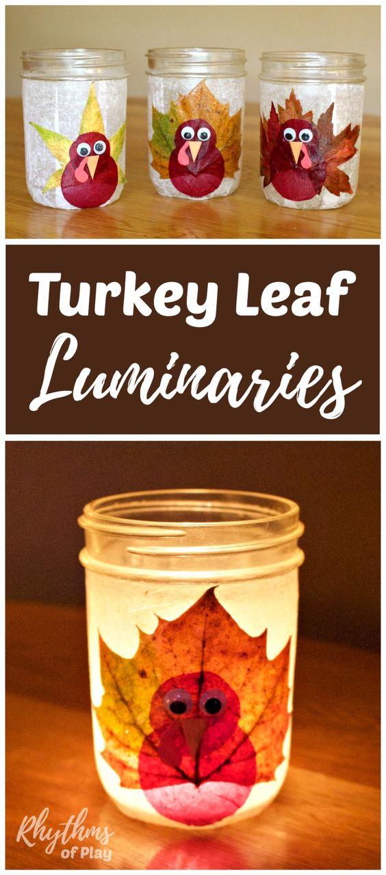 Turkey Leaf Lanterns Thanksgiving Craft.