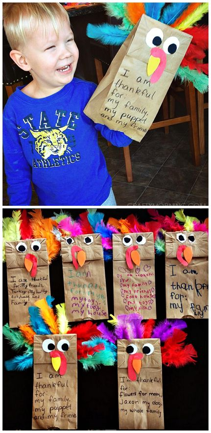 Paper Bag Turkey Puppets.