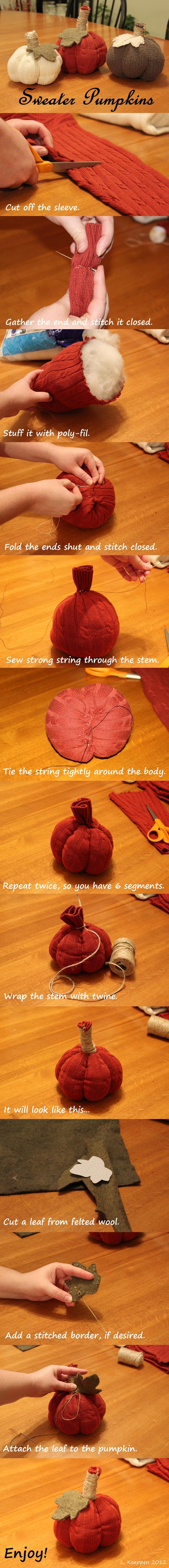 Easy No Sew Pumpkins from Old Sweaters.