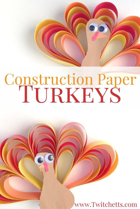 Construction Paper Turkey Craft.