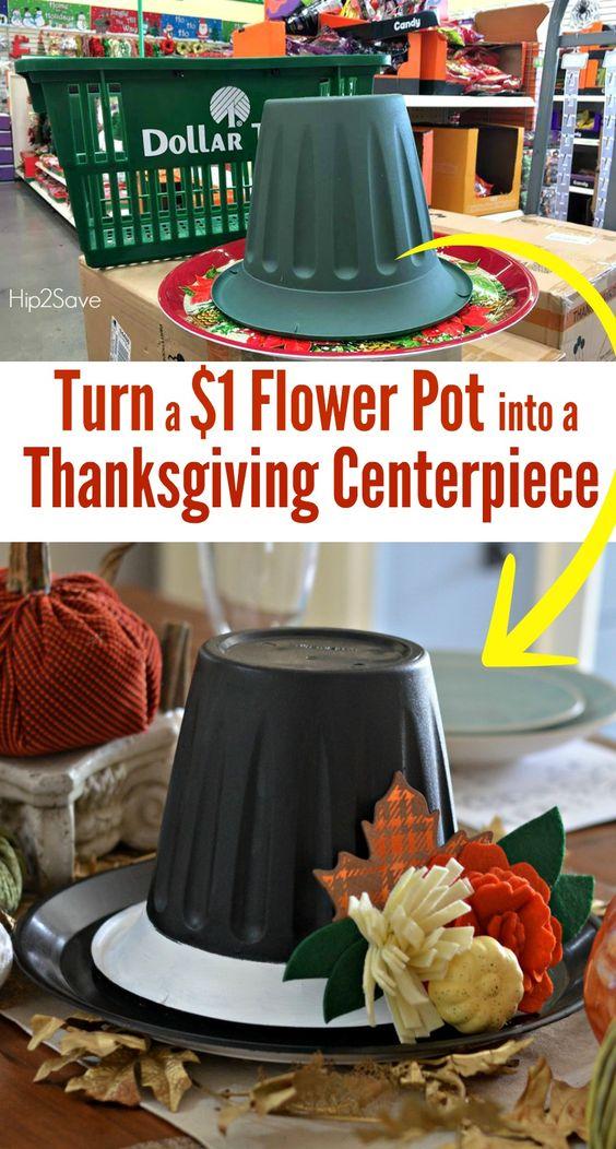 Dollar Store Thanksgiving Hat Centerpiece.