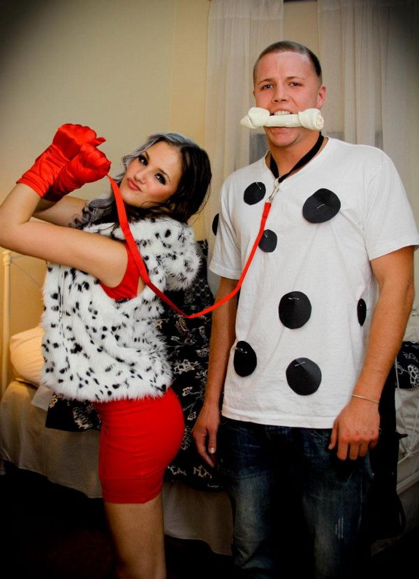 Cruella De Ville and Dalmatian Couples Costume.