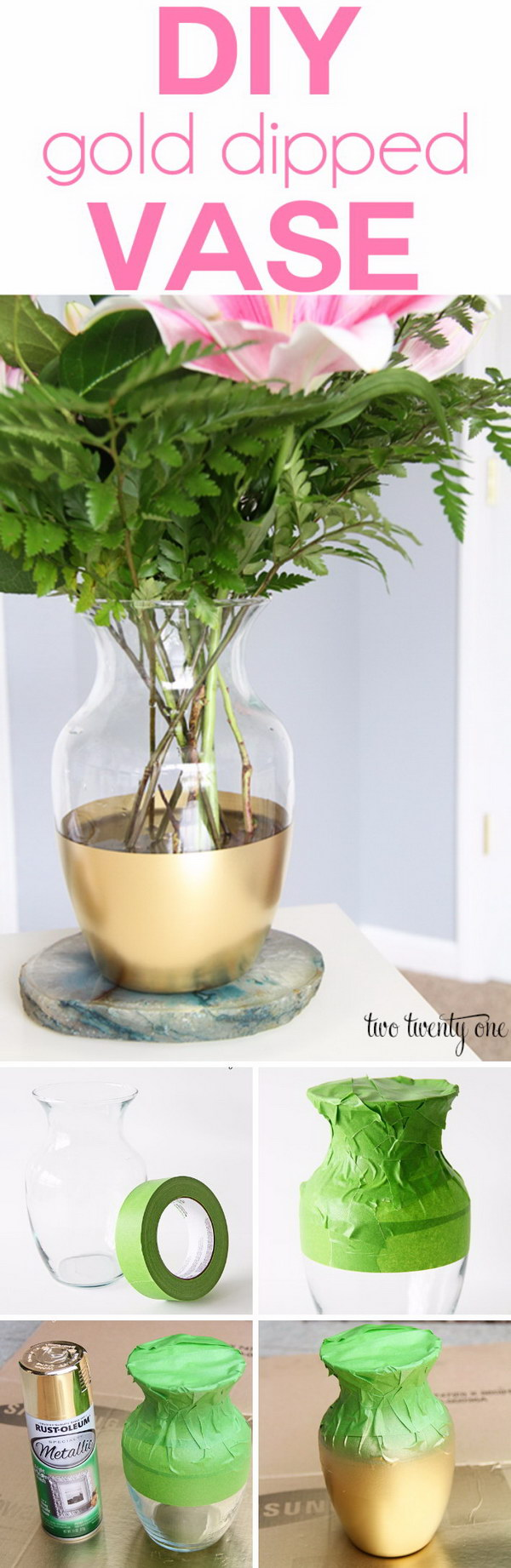 DIY Gold Dipped Vase.