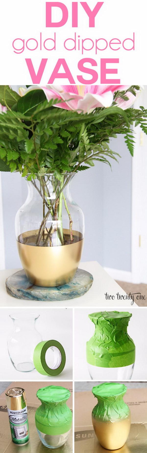 DIY Gold Dipped Vase.